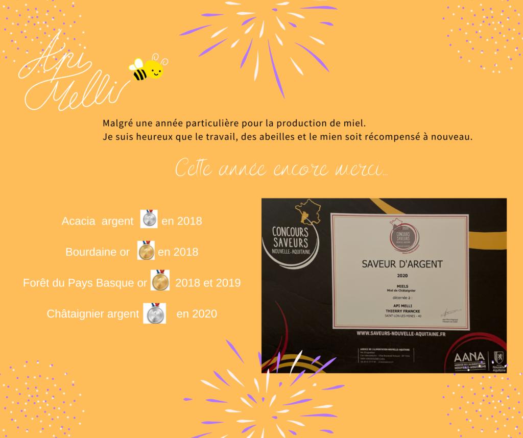 Récompense de l'année 2020 sur le miel de châtaignier
